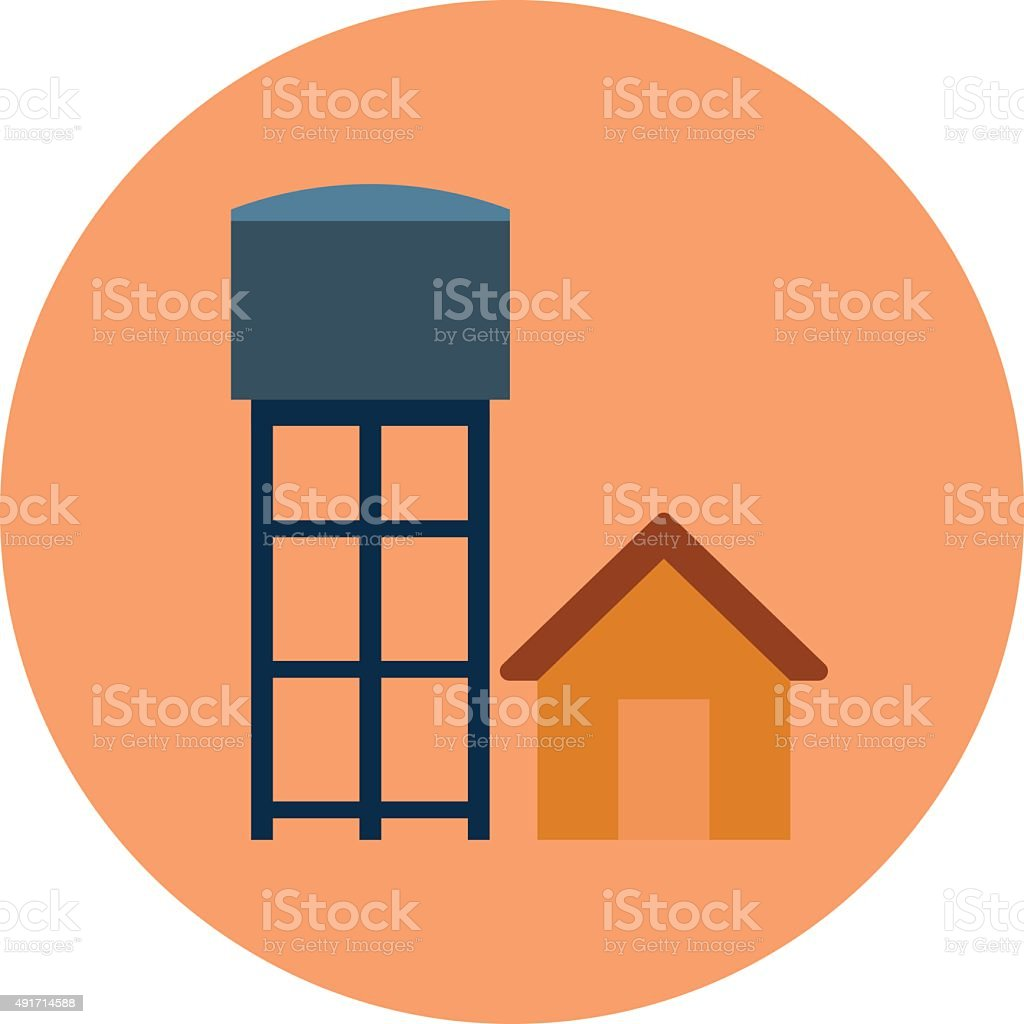 Water Tower Colored Vector Illustration vector art illustration
