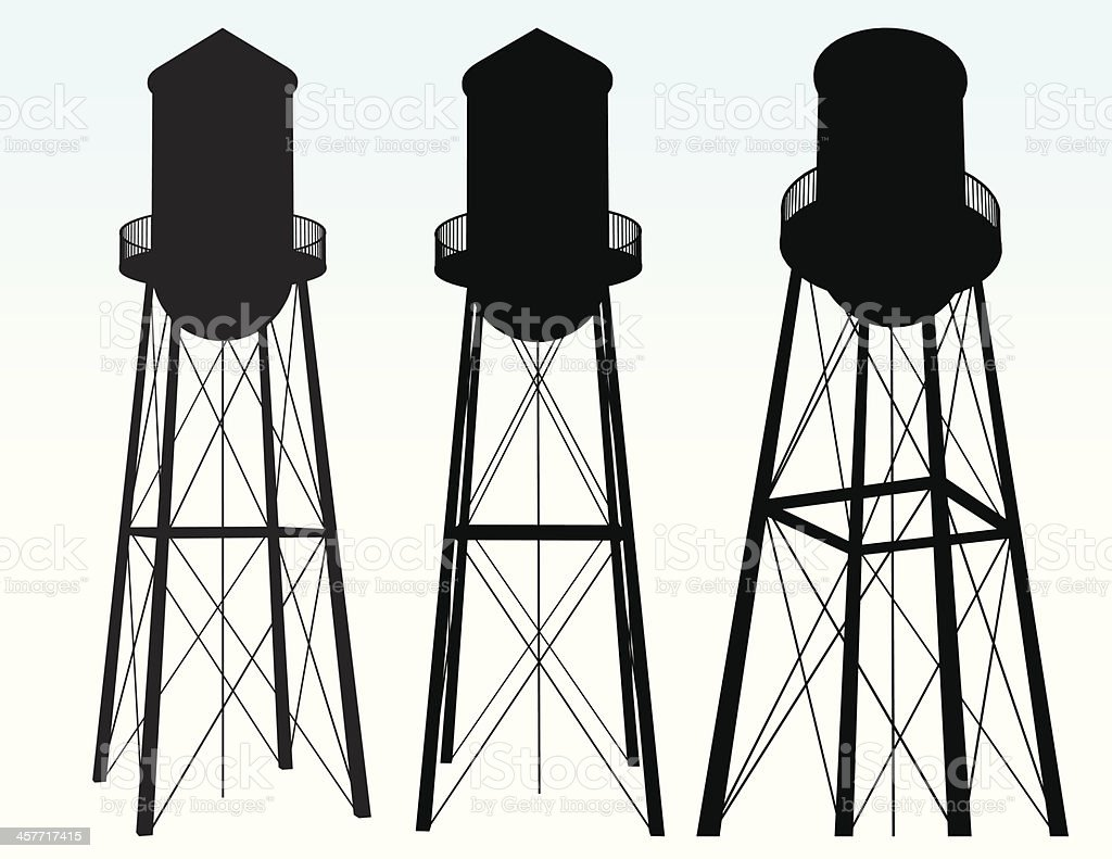 Water Tower Silhouette vector art illustration