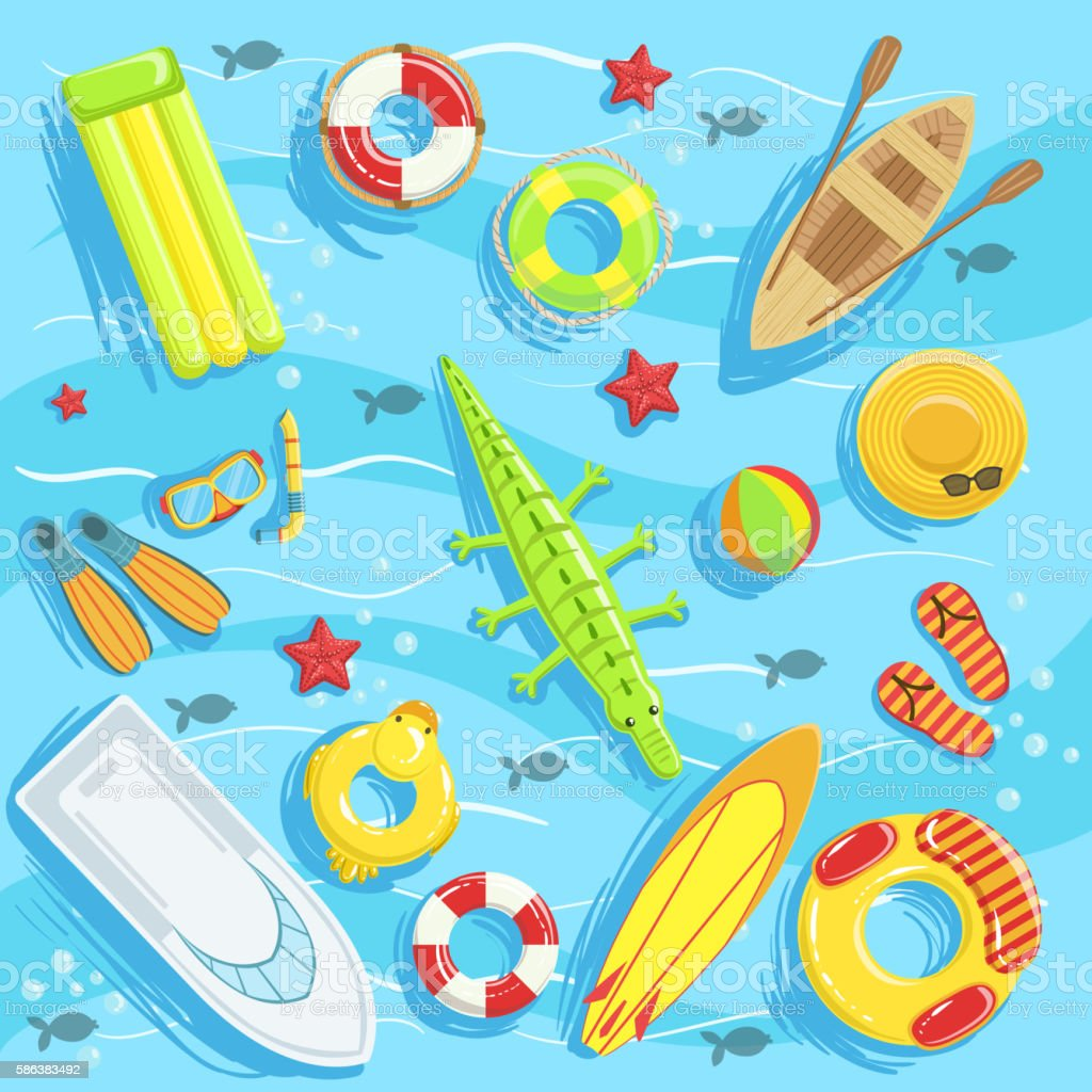 Water Toys And Other Objects From Above Illustration vector art illustration