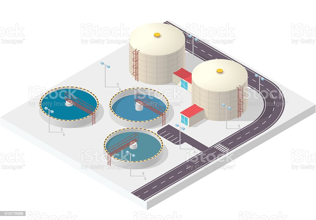 Water treatment isometric building infographic, big bacterium purifier on white. vector art illustration