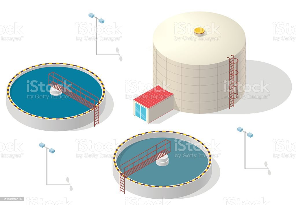 Water treatment isometric building infographic, big bacterium purifier white background. vector art illustration