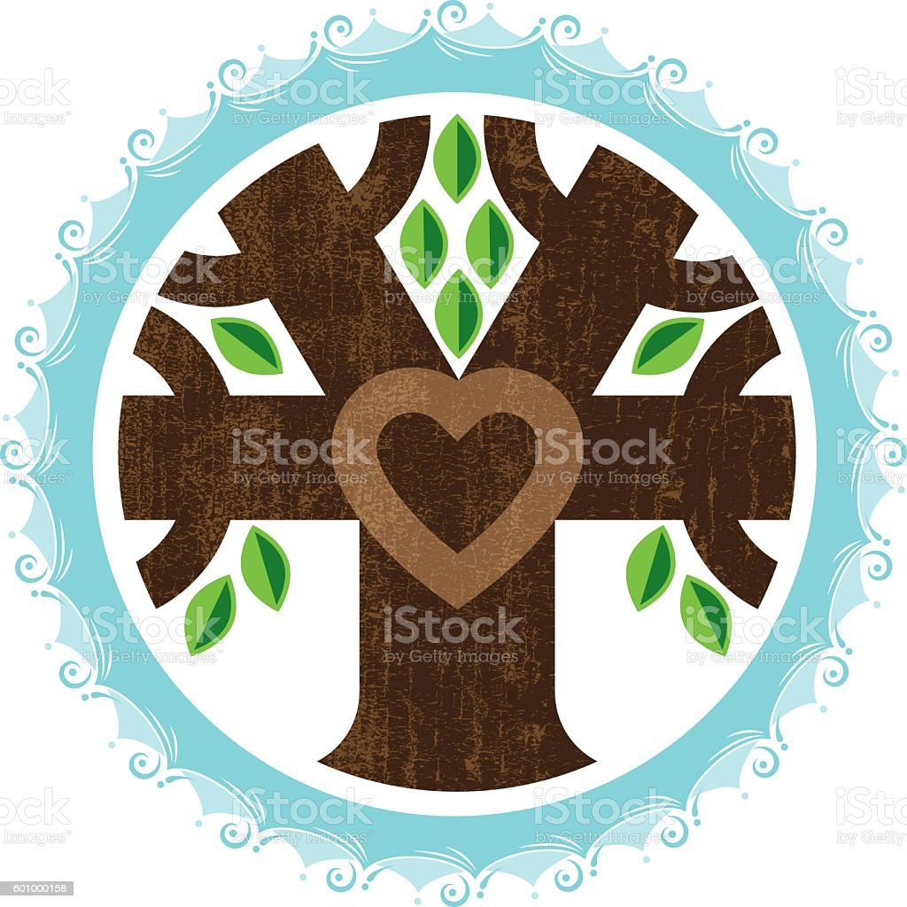 Water tree heart logo vector art illustration