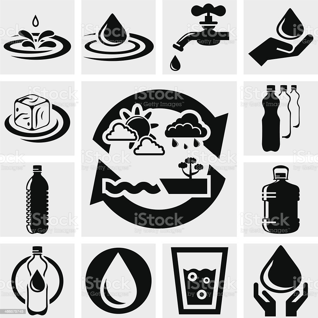 Water vector icons set. vector art illustration