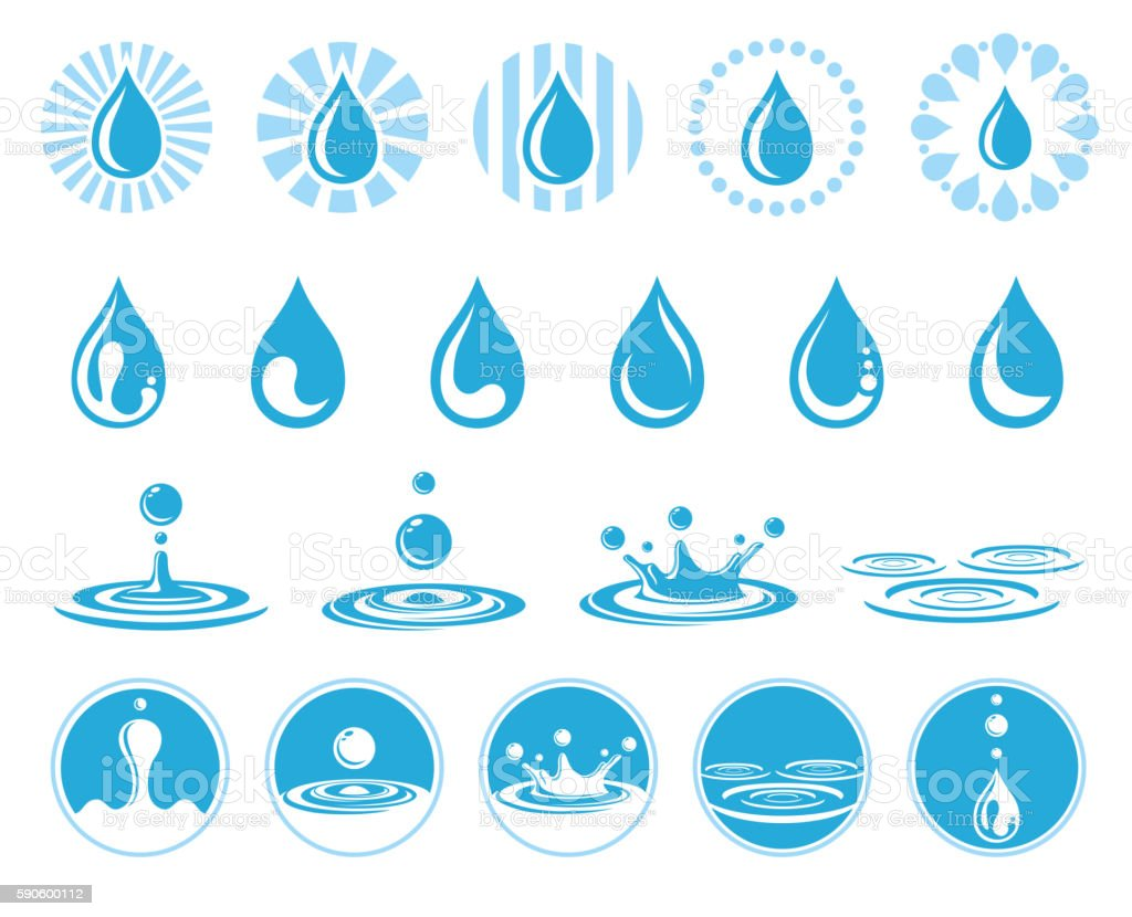 Water vector icons vector art illustration