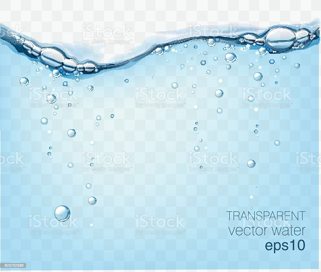 Water vector wave transparent surface with bubbles of air vector art illustration