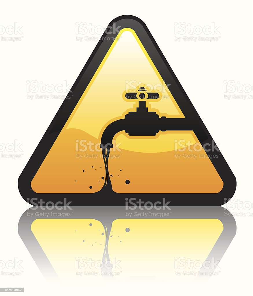 Water Warning Icon w/ Reflection royalty-free stock vector art