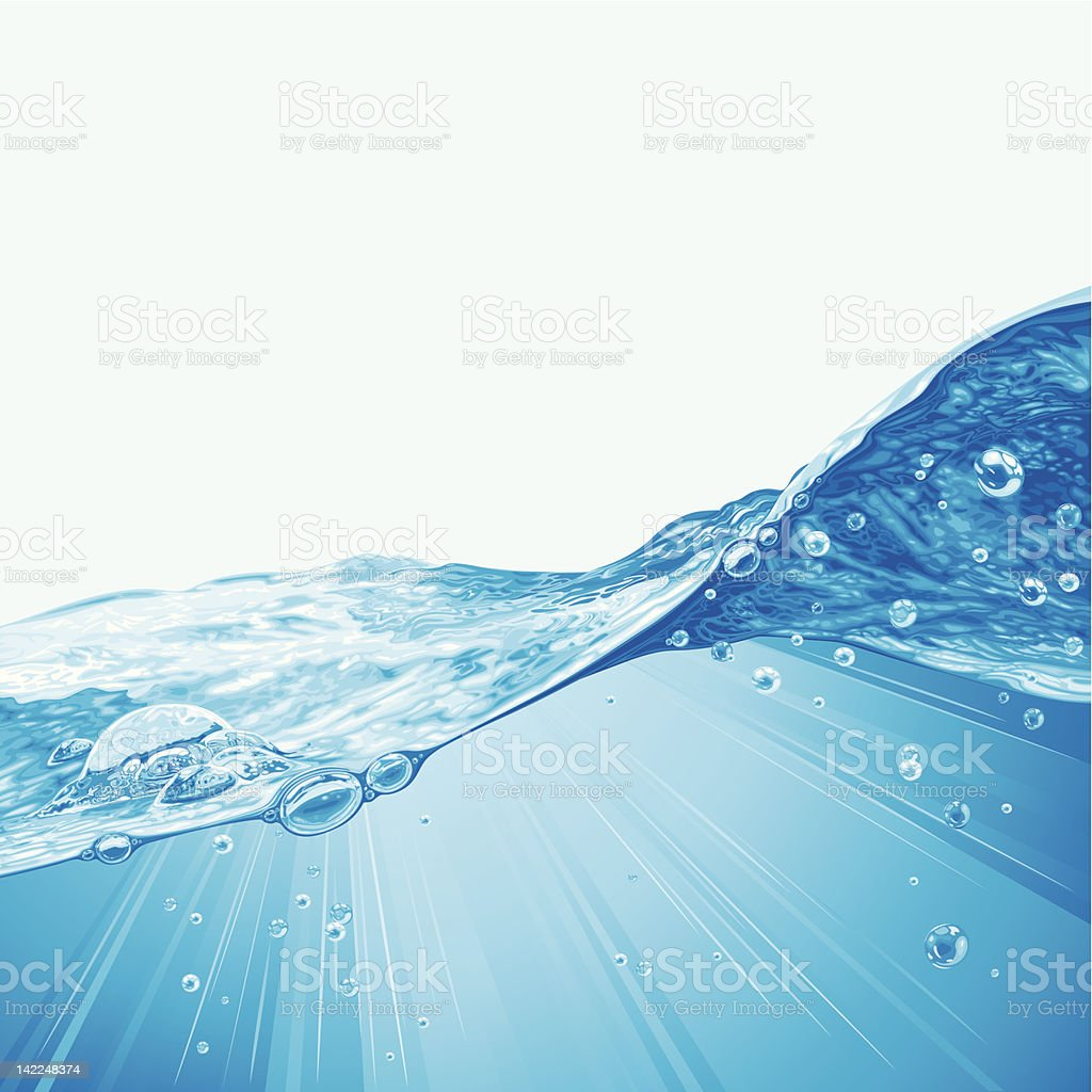 Water Wave Background With Bubbles vector art illustration