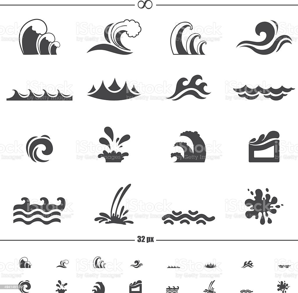 water wave icons vector art illustration