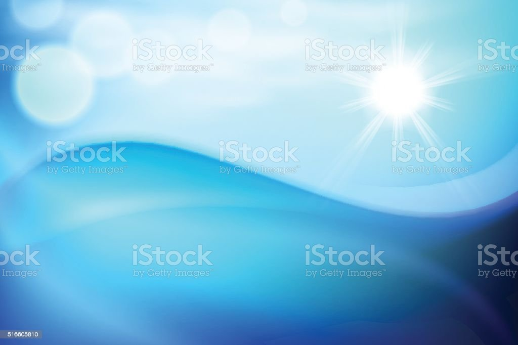Water wave in sunny day vector art illustration