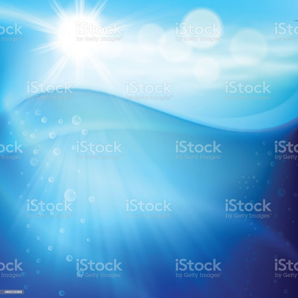 Water wave with bubbles in sunny day. royalty-free stock vector art