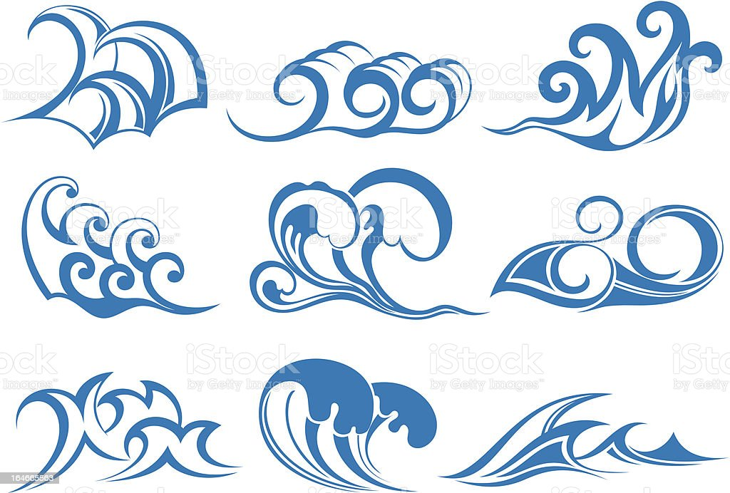 Water waves royalty-free stock vector art