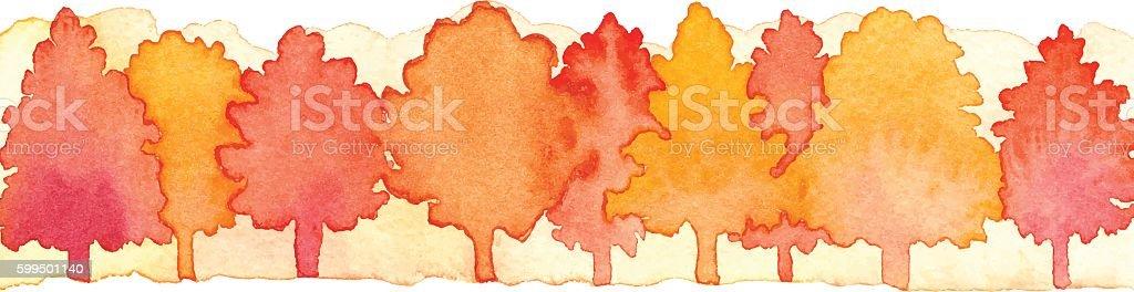 Watercolor Autumn Forest vector art illustration