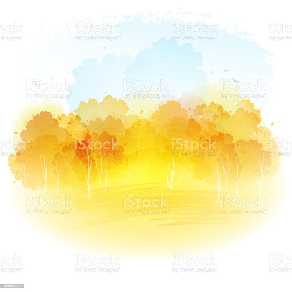 Watercolor autumn landscape. Vector illustration vector art illustration