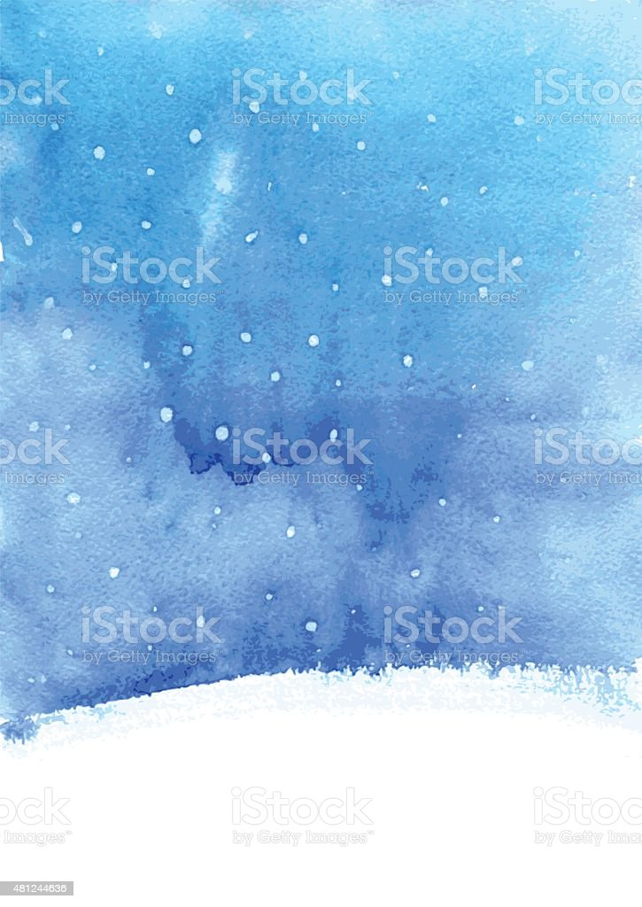 watercolor background with snow vector art illustration
