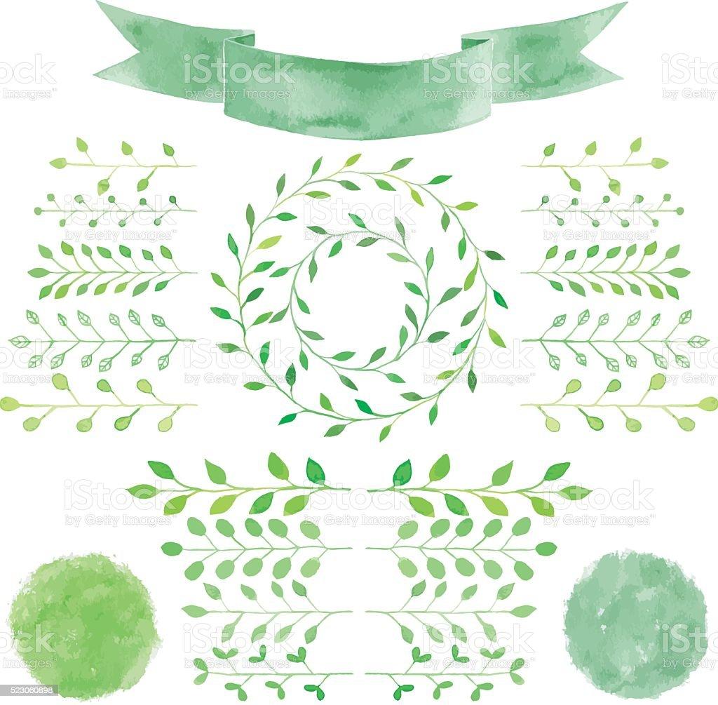 Watercolor badges, leaves, circle green wreath, ribbon, emblem s vector art illustration
