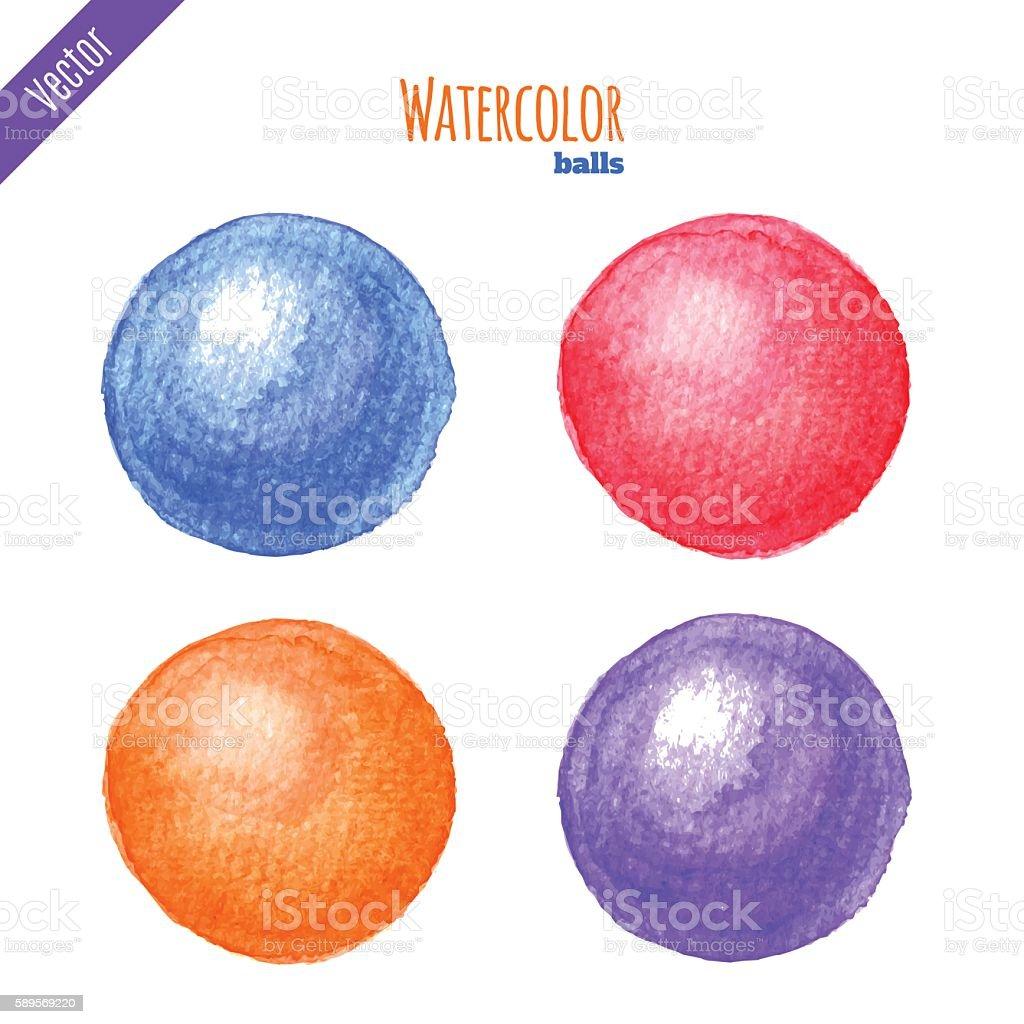 Watercolor balls vector art illustration