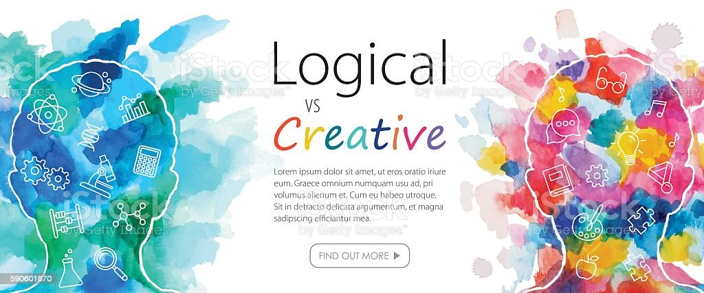 Watercolor Banner Depicting Logical Vs Creative Thinking vector art illustration