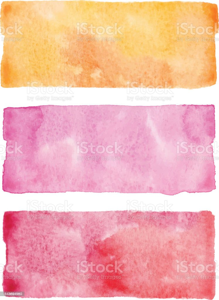 Watercolor Banners Red vector art illustration