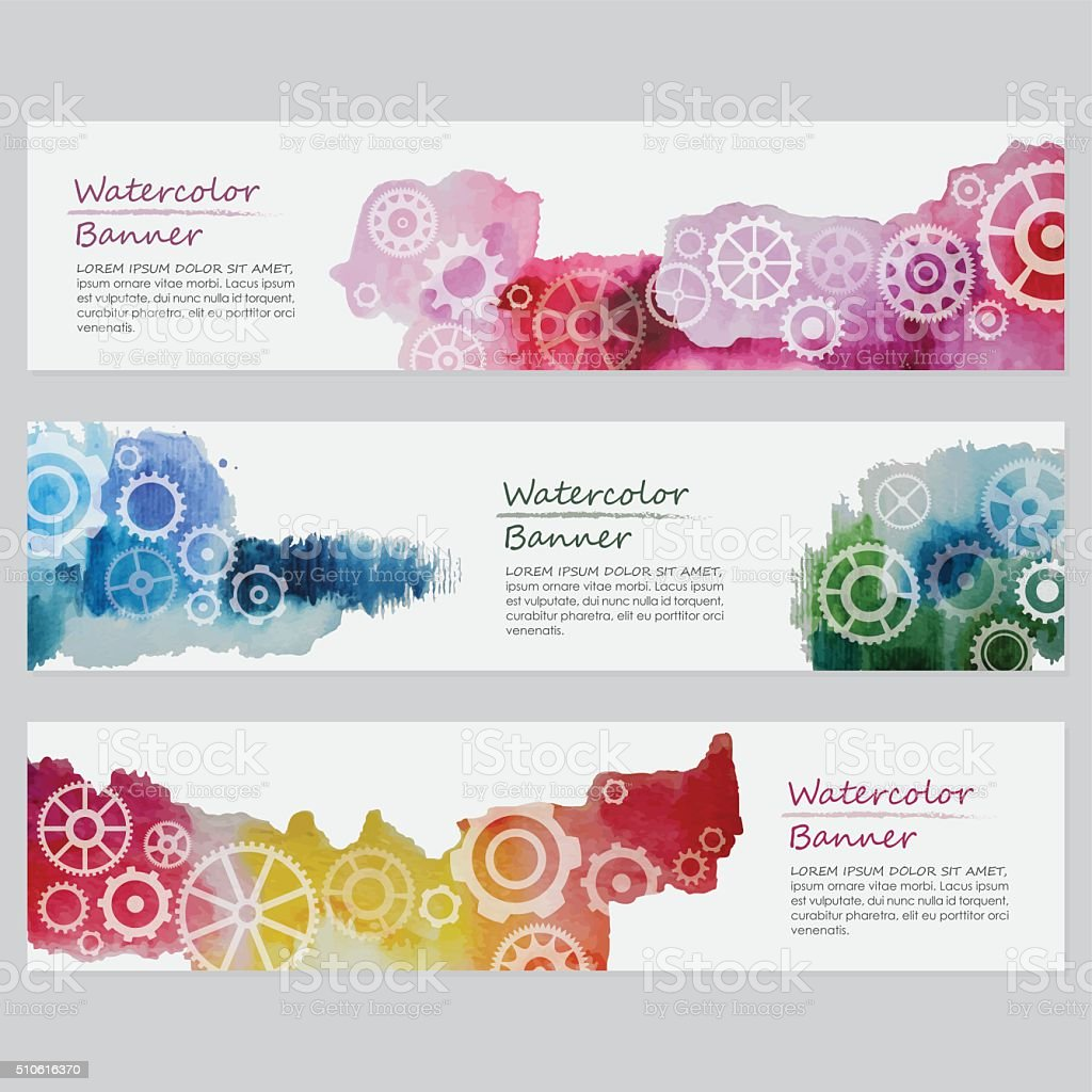 Watercolor Banners Templates With Gears vector art illustration