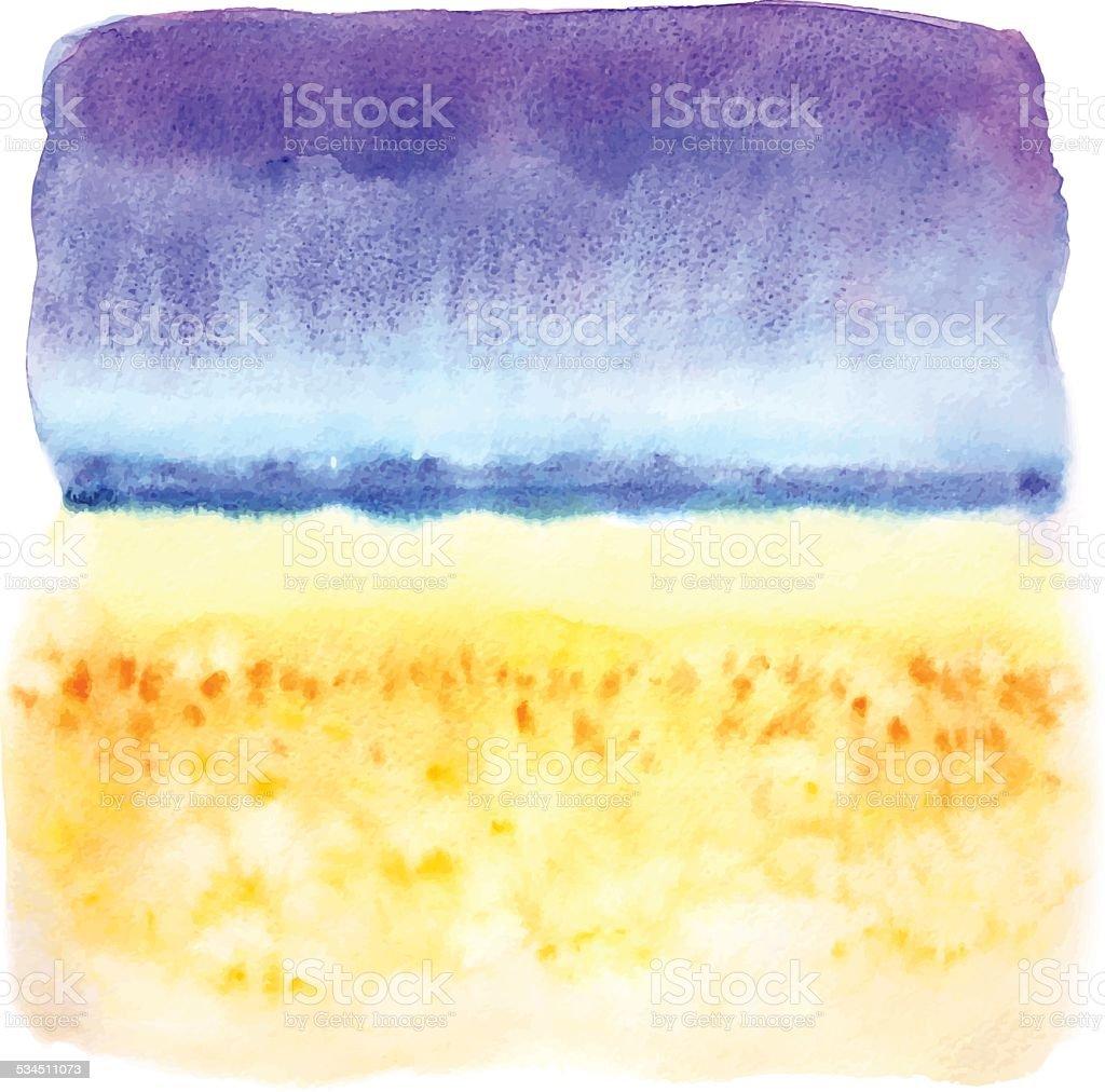 Watercolor beach illustration vector art illustration
