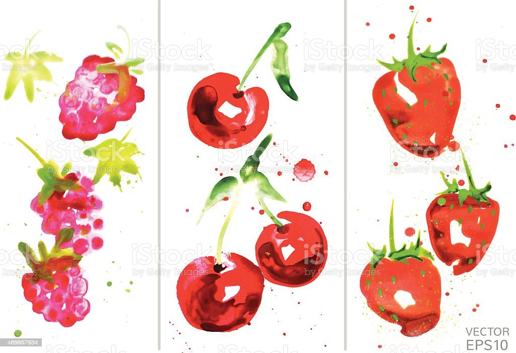 watercolor berry set vector art illustration