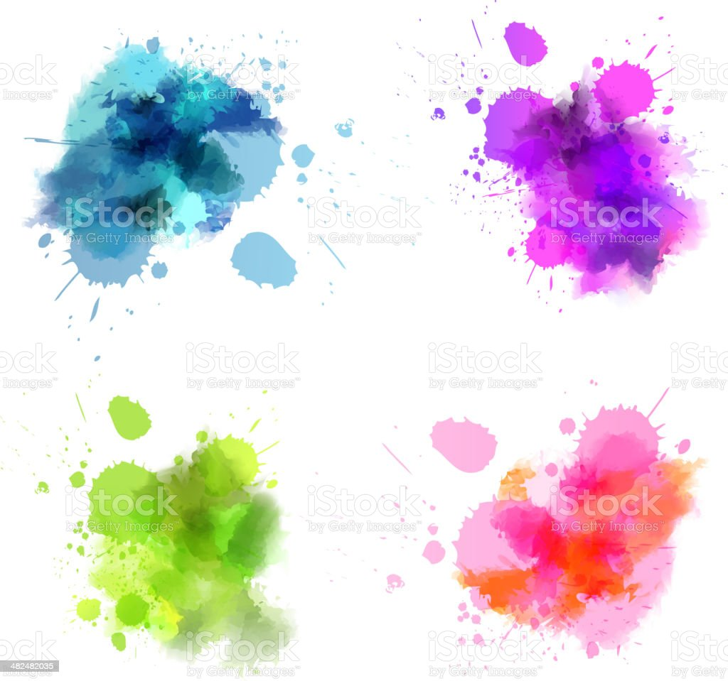 Watercolor blots vector art illustration