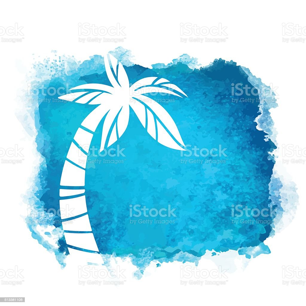 Watercolor blue background and palm tree vector art illustration