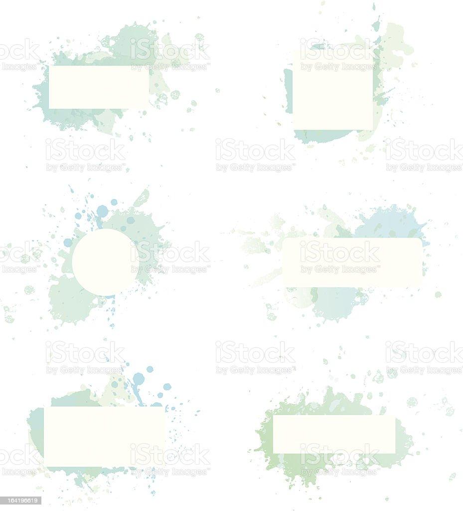Watercolor blue frames royalty-free stock vector art