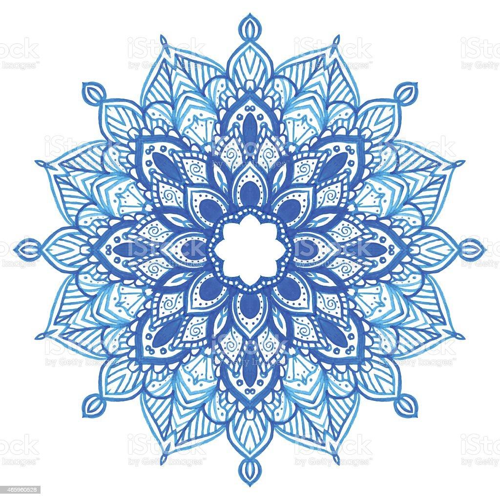 Watercolor blue mandala. vector art illustration