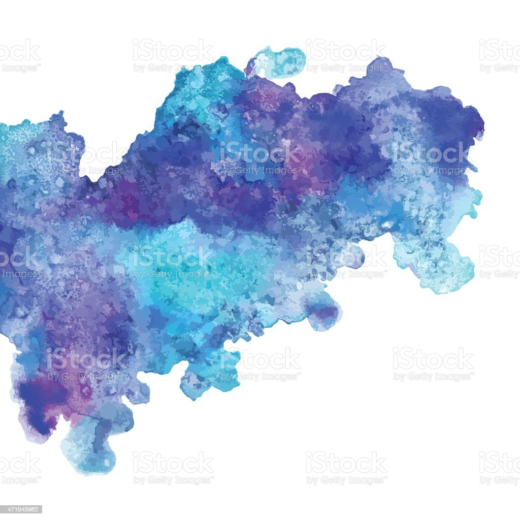 Watercolor blue paint stain vector art illustration