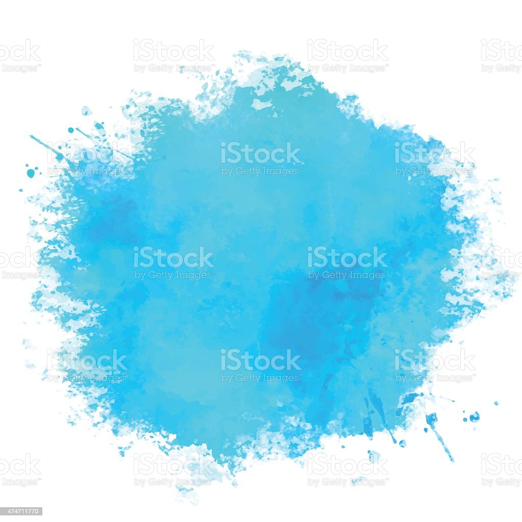 Watercolor blue paint stain vector art illustration