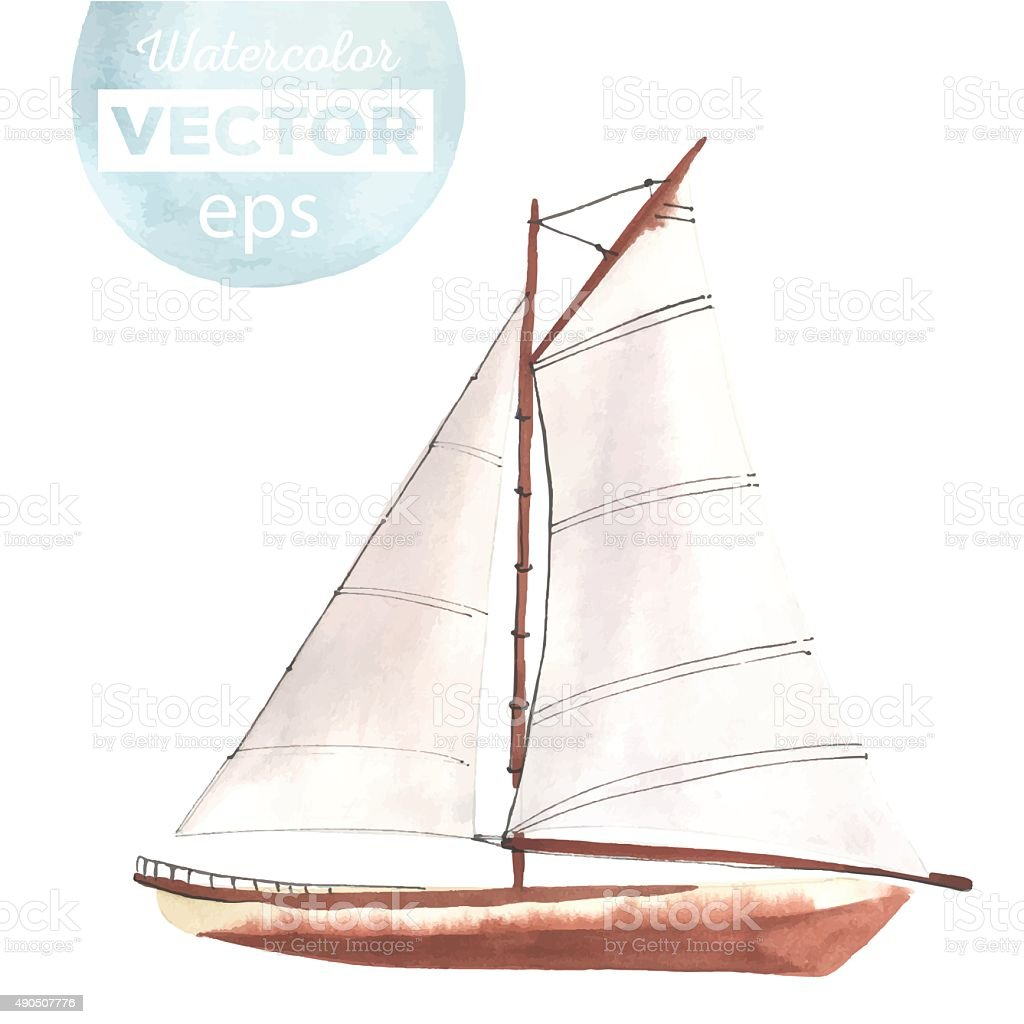 Watercolor boat with sails vector art illustration