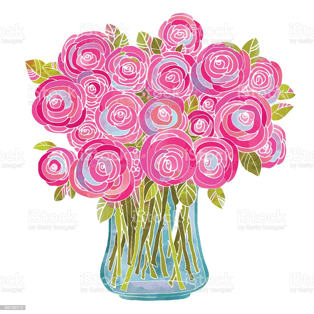 watercolor bouquet of roses flowers in vase stock vector. Black Bedroom Furniture Sets. Home Design Ideas