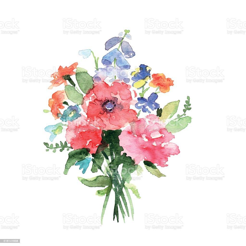 Watercolor bouquet vector art illustration