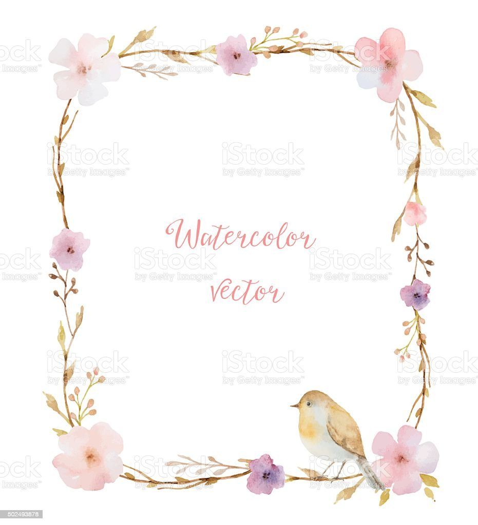 Watercolor bouquets in the shape of a rectangle. vector art illustration