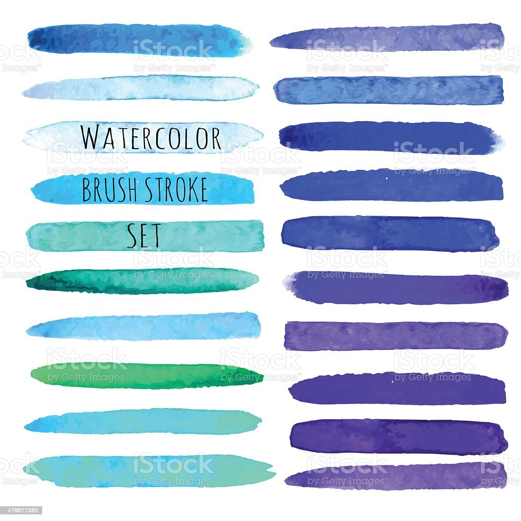 Watercolor brush vector strokes. vector art illustration