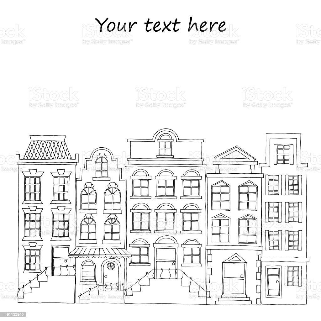 Watercolor buildings. vector art illustration