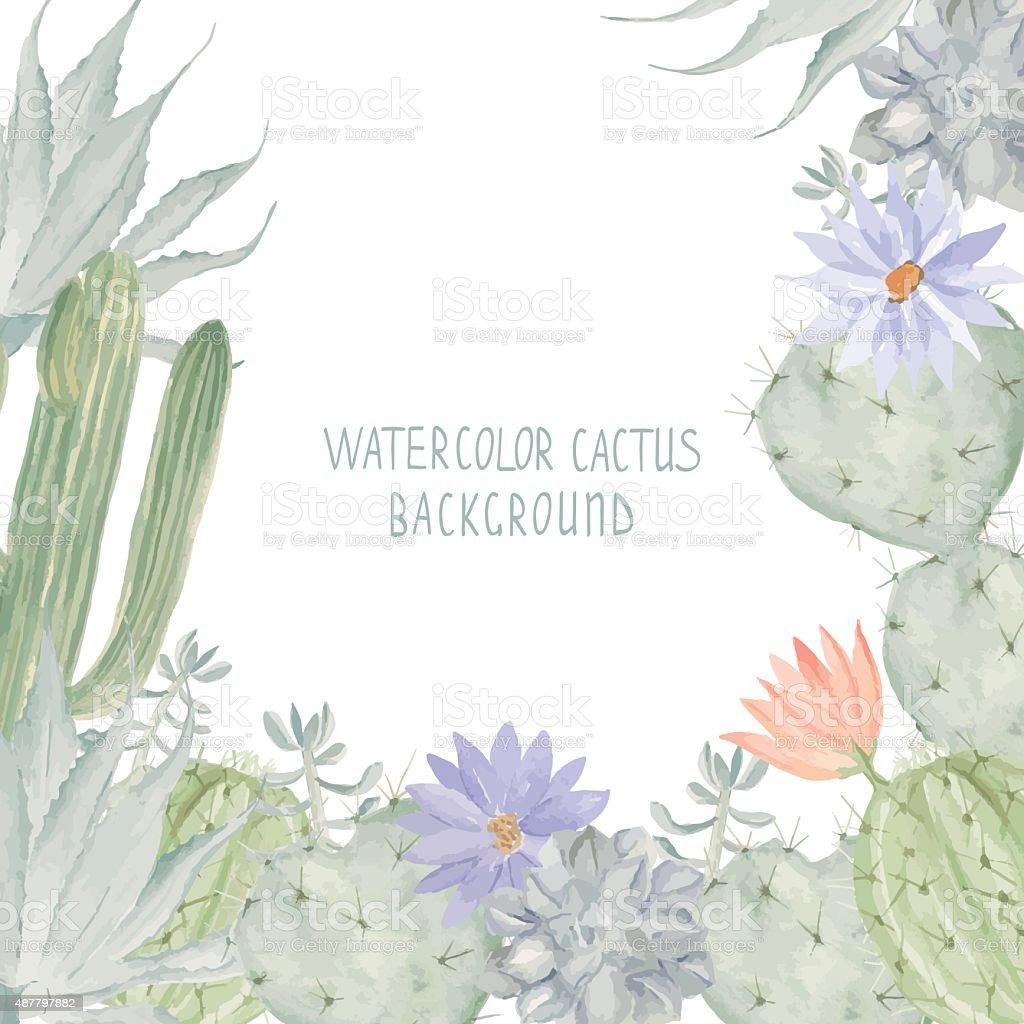 Watercolor cactus background vector art illustration
