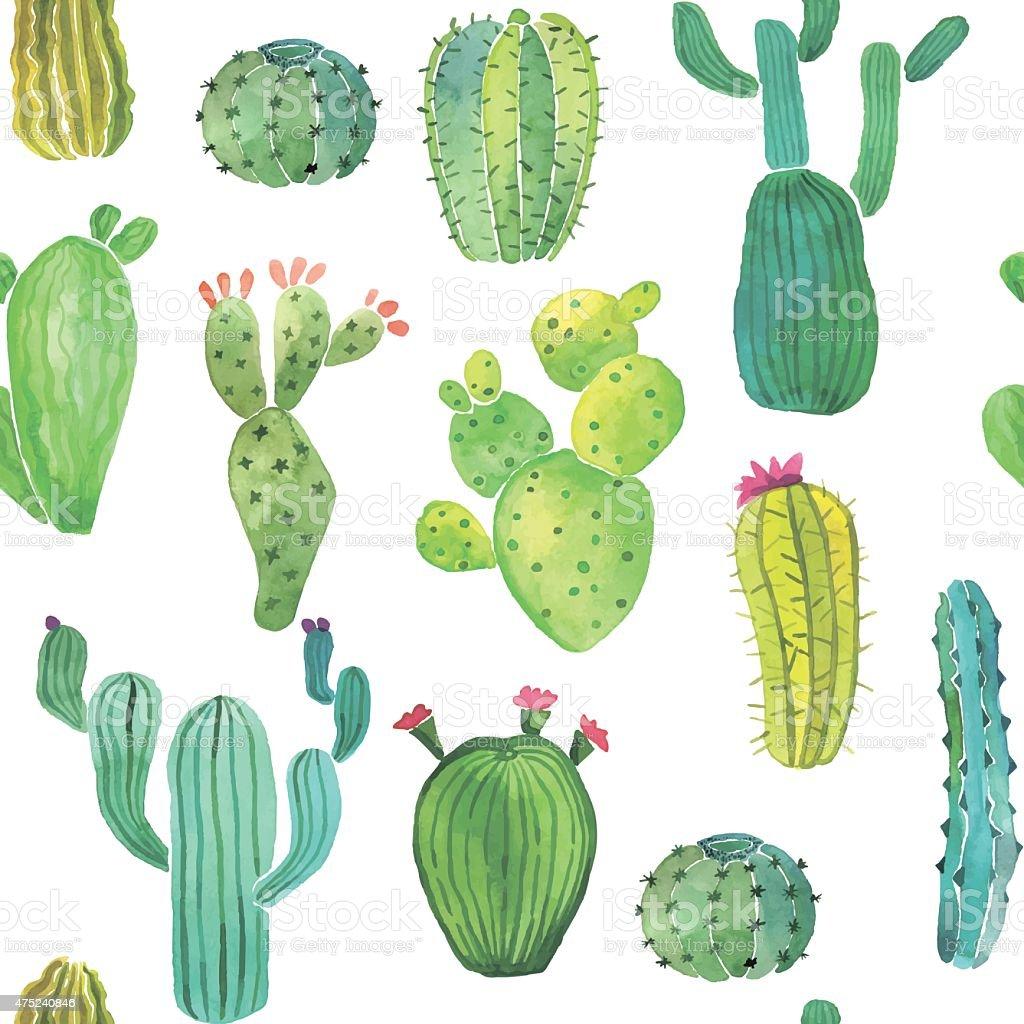 Watercolor cactus seamless pattern vector art illustration
