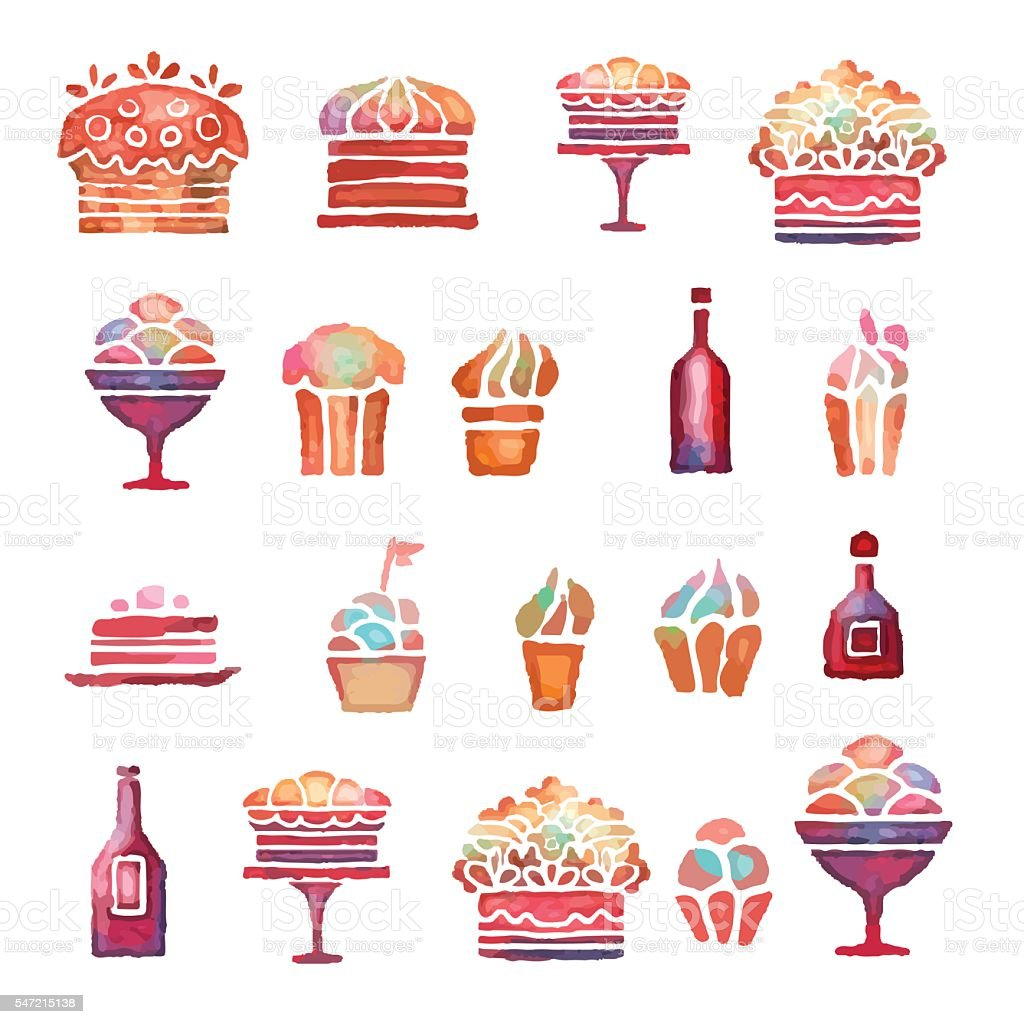 Watercolor cakes, cupcake, pie, ice cream, bottle of wine vector art illustration