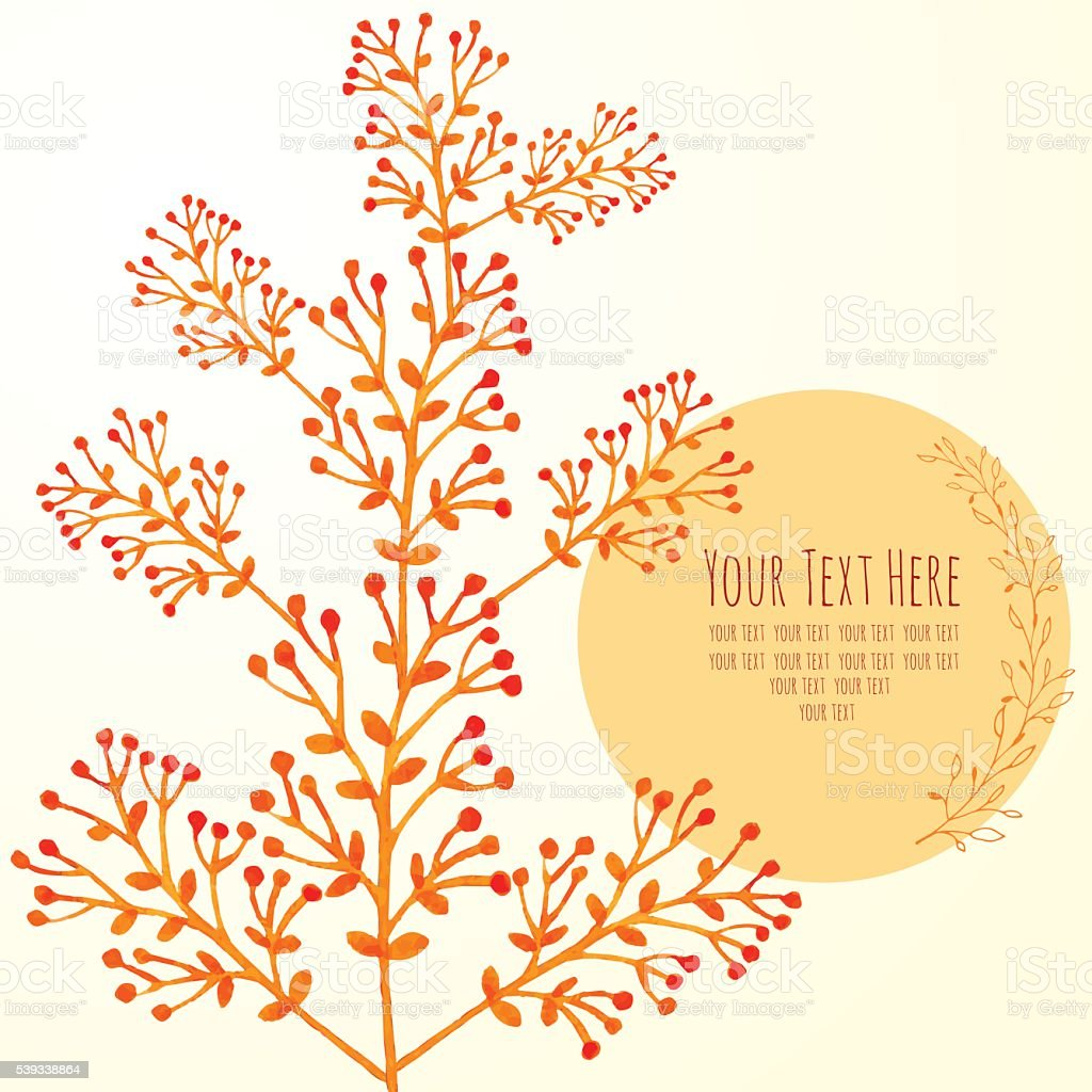 watercolor card with branches royalty-free stock vector art