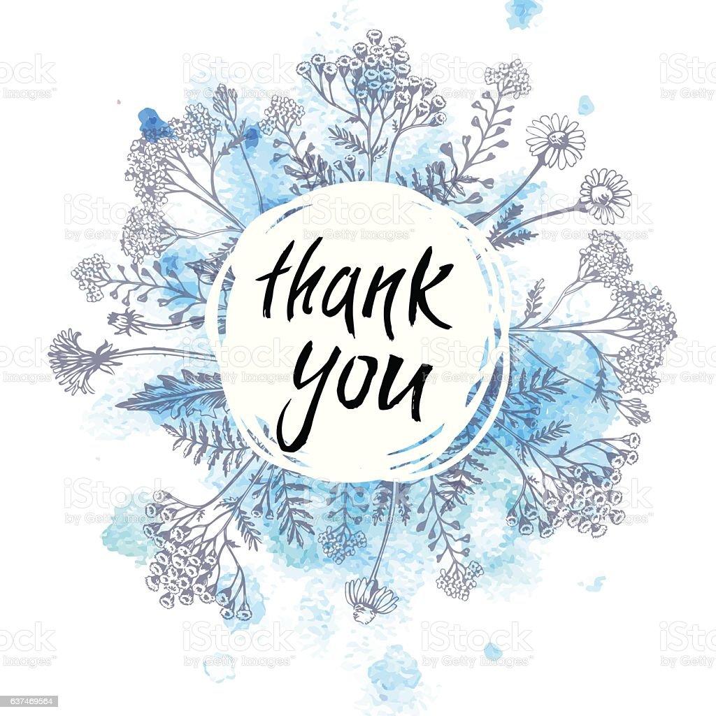 Thank U Next Descargar Gratis: Watercolor Card With Herbs Thank You のイラスト素材 637469564