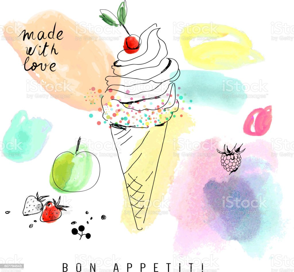 Watercolor card with ice cream.  Isolated on a white background. vector art illustration