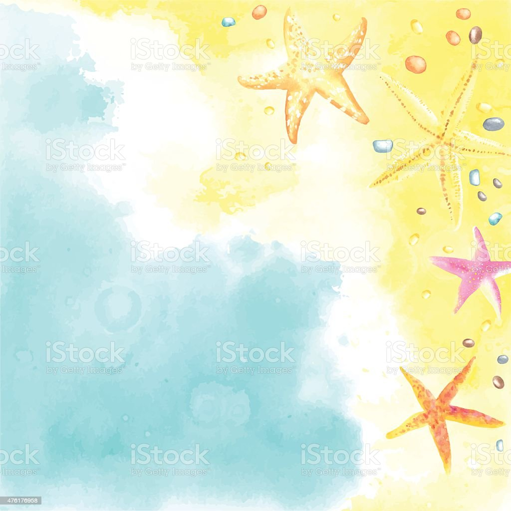 Watercolor card with Seaside and Starfish vector art illustration