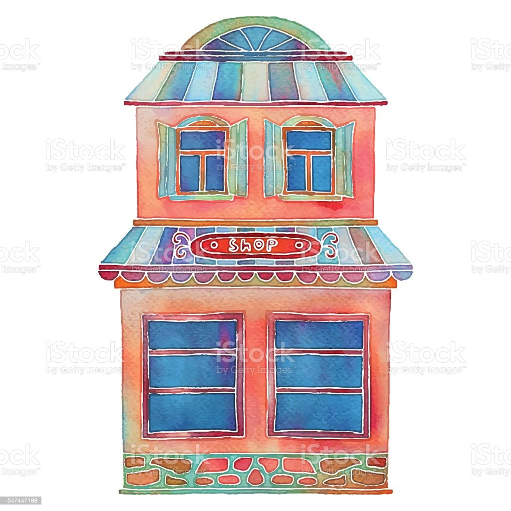 Watercolor cartoon building, shop, house exterior vector art illustration