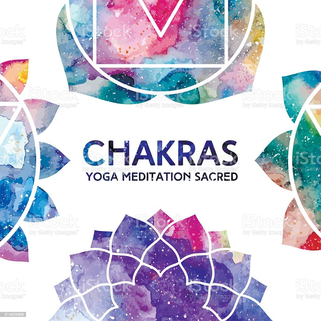 Watercolor chakras frame vector art illustration