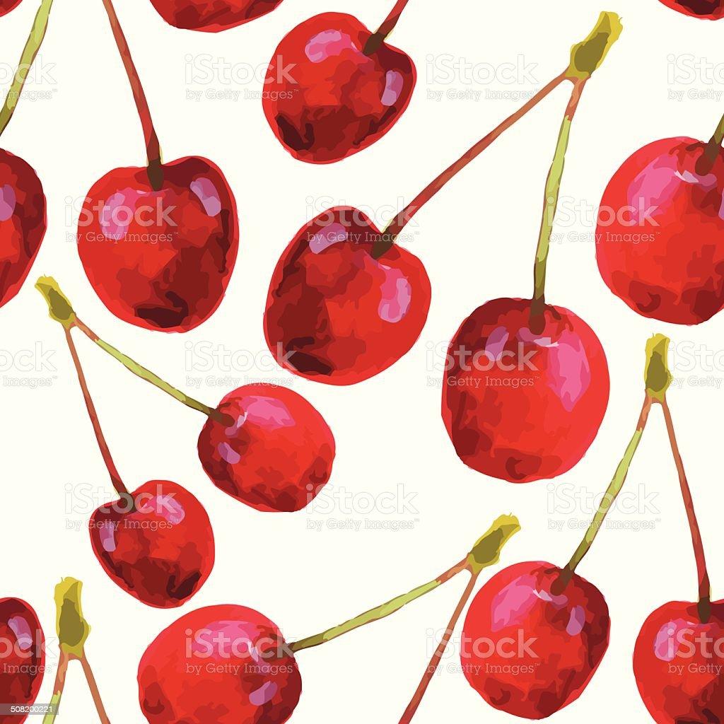Watercolor cherries pattern royalty-free stock vector art