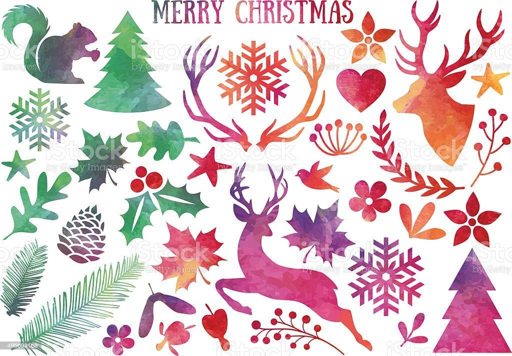 Watercolor Christmas, vector set vector art illustration