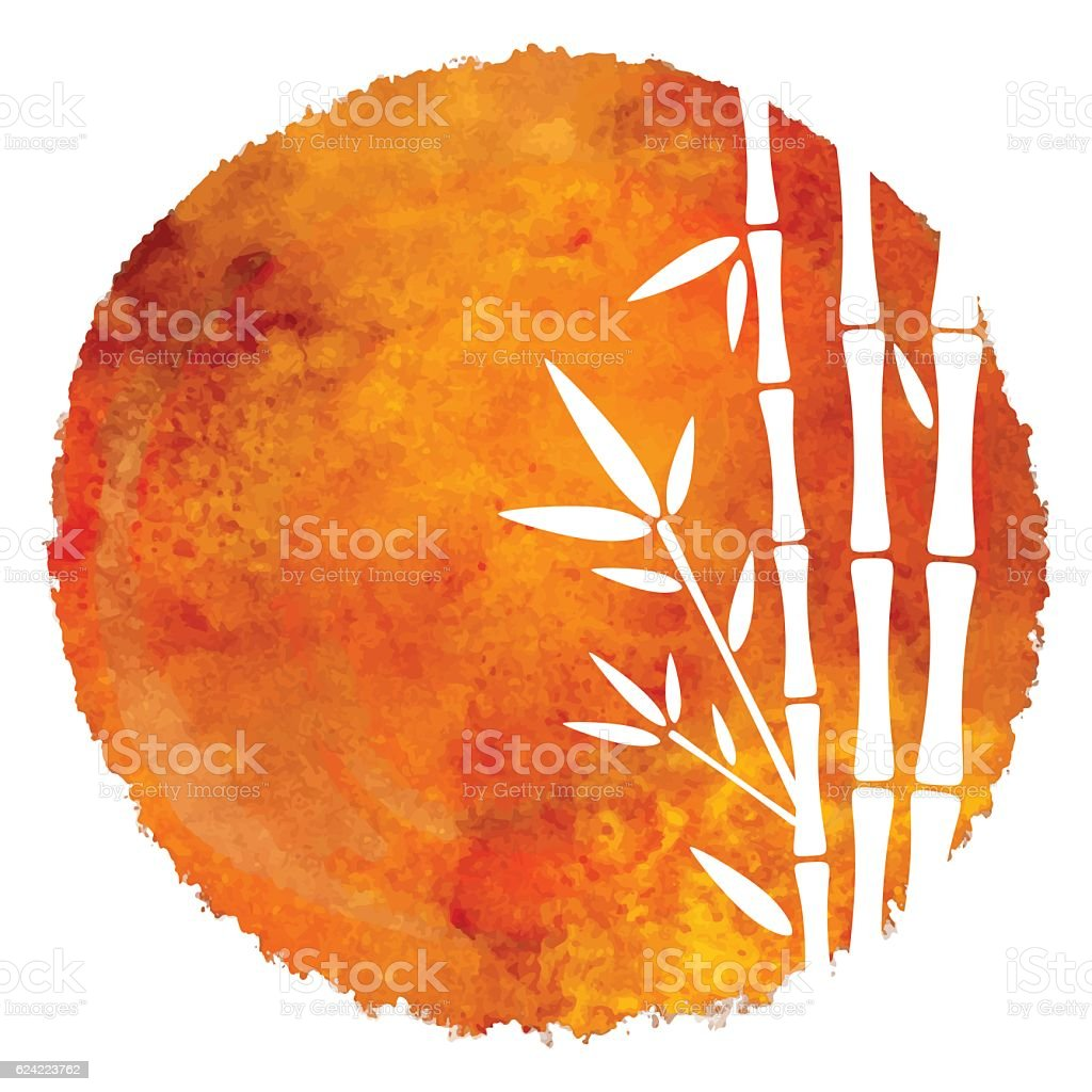 Watercolor circle paint stain and bamboo trees vector art illustration