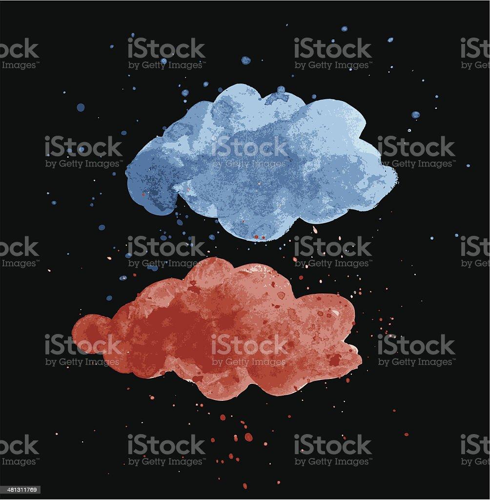 Watercolor cloudscape with rain splatters vector art illustration